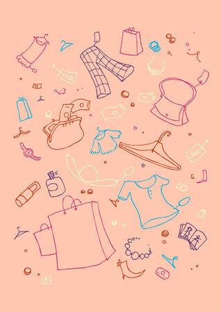 illustraition: illustraition of shopping symbols, hand drawn design set. Illustration