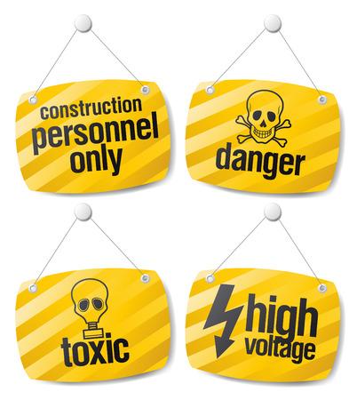 riesgo biologico: Conjunto de signos de vector de alerta de peligro  Vectores