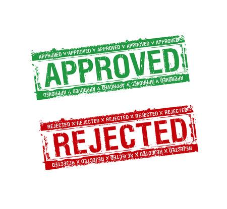 denied: sellos de caucho de vector aprobados y rechazados