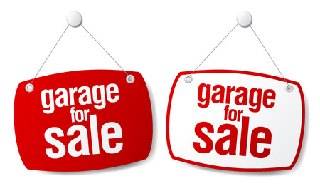 relocation: Garage for sale vector signs.