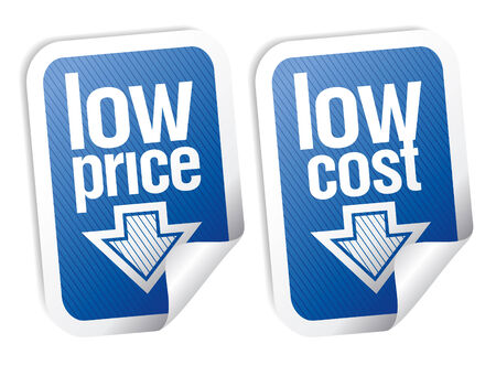 Low price stickers set with shadow. Vector