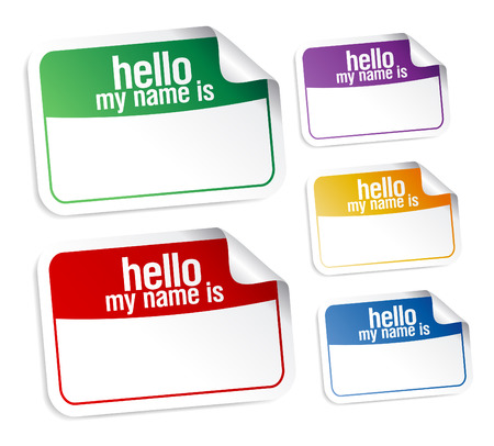 Color name tag blank stickers set, hello my name is. Vector