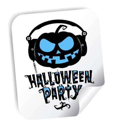 Halloween party sticker with pumpkin wear headphones Vector