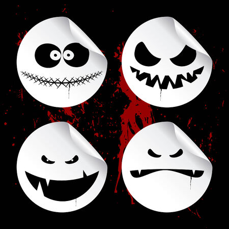 Monster smileys on black blood background, set of halloween wicked stickers. Vector