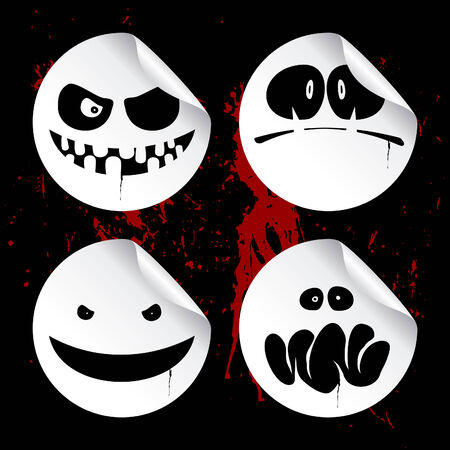 wicked set: Monster smileys on black blood background, set of halloween wicked stickers. Illustration