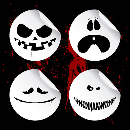 wicked: Monster smileys on black blood background, set of halloween wicked stickers. Illustration