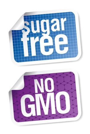 hmo: Set di etichette per zucchero libero e alimenti bio.