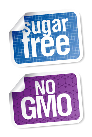 Set of labels for sugar free and bio food. Stock Vector - 7887911