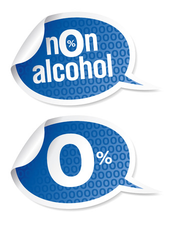 Non-alcohol drinks stickers set Vector