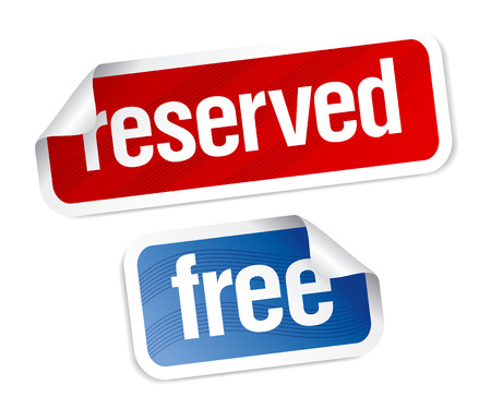 reserved sign: Reserved and free stickers set.