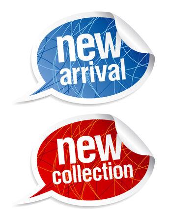 Nueva colección de pegatinas establecer en forma de burbujas de discurso.  Ilustración de vector