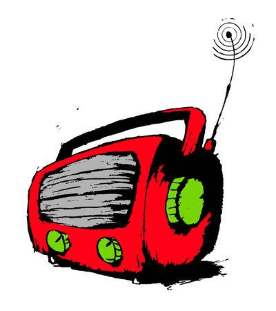 Red radio, hand drawn grunge illustration. Stock Vector - 8021304