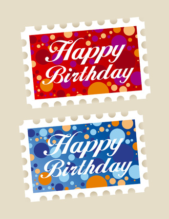 Happy birthday stamps stickers set Vector