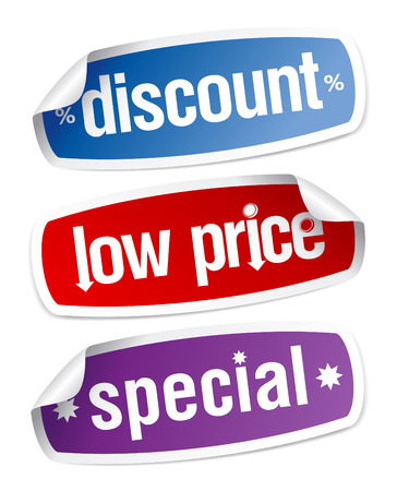 price: Set of stickers for discount sales. Illustration
