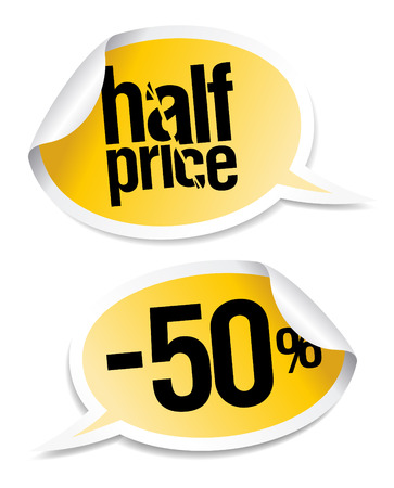 Half price sale stickers set in form of speech bubbles. Stock Vector - 8110592