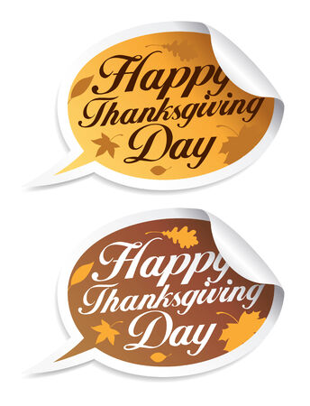 happy thanksgiving: Happy Thanksgiving Day stickers in form of speech bubbles.