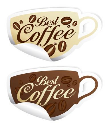 demitasse: Miglior caff� adesivi a forma di Coppa.  Vettoriali