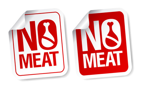 advertisment: No meat stickers set. Illustration