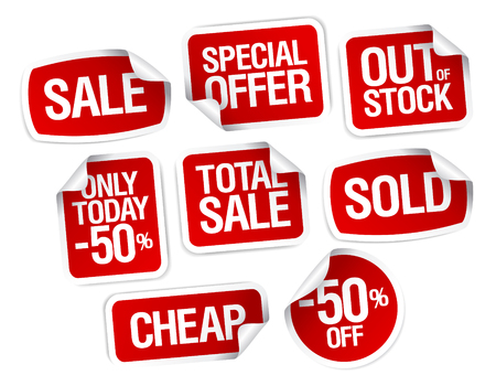 Set of stickers for best stock sales Stock Vector - 8110817