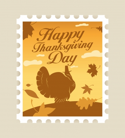 Happy Thanksgiving Day postage stamp. Stock Vector - 8110815