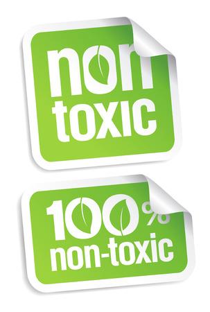 productos quimicos: Conjunto de etiquetas de productos no t�xicos.
