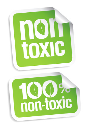 poison sign: Non toxic product stickers set.