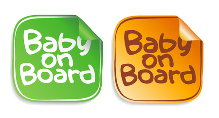 Baby on board stickers set. Vector