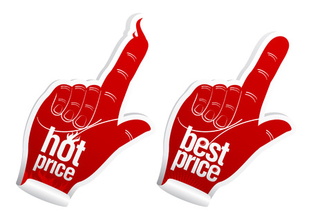 index finger: Hot best price stickers set Illustration
