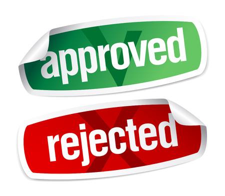 cr�dito: conjunto de pegatinas aprobados y rechazados