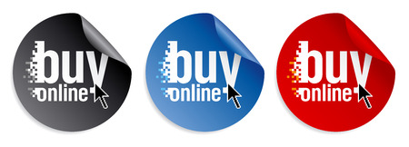 import trade: Buy online stickers set. Illustration