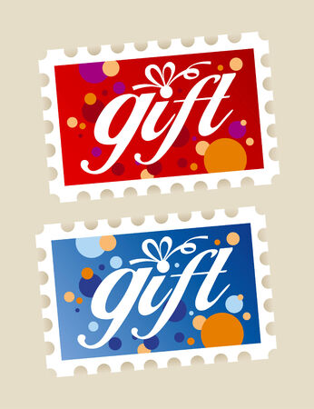 Gift postage stamps stickers. Vector
