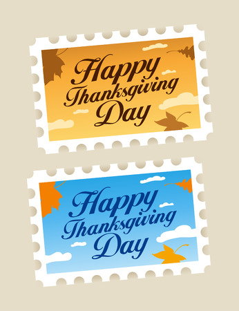 postage stamps: Happy Thanksgiving Day postage stamps set.