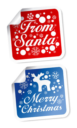 From Santa, Merry Christmas stickers Stock Vector - 8198274