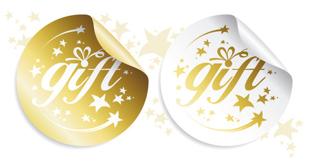 Gold gift stickers, holidays set. Stock Vector - 8198266