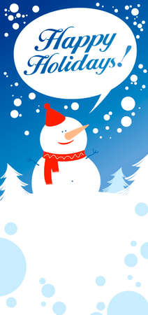 Christmas card with snowman talking Happy Holidays. Stock Vector - 8198275