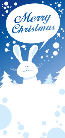 Christmas card with rabbit talking Merry Christmas. Vector