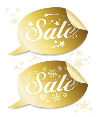 Gold Winter Sale stickers   Vector