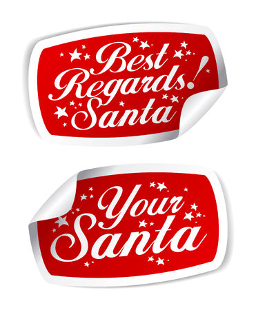Greeting Stickers from Santa. Stock Vector - 8198335