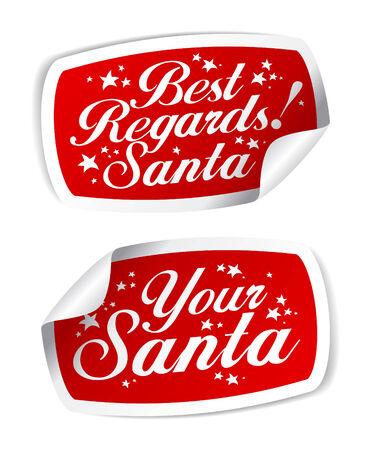 regards: Greeting Stickers from Santa. Illustration