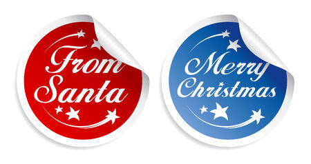 Merry Christmas stickers set Vector