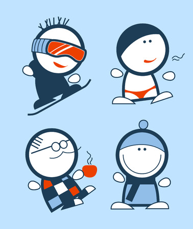 snowboarding: Set of winter funny people icons Illustration