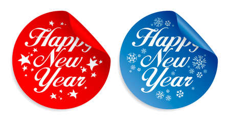 Happy New Year  stickers. Stock Vector - 8198334