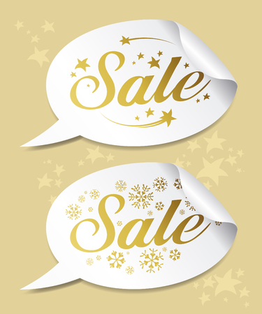 Gold Winter Sale stickers Stock Vector - 8198338