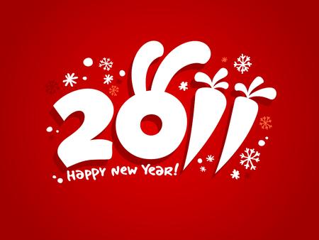 New Years card 2011, vector illustration. Vector