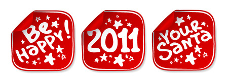 New Years stickers set. Stock Vector - 8265381