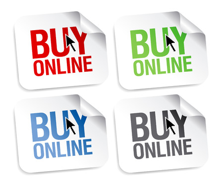 sell online: Buy online stickers set. Illustration