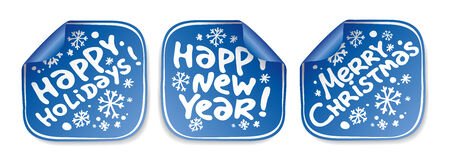 Christmas and New Years stickers set Vector