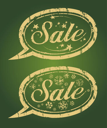 Winter sale gold rubber stamps. Vector