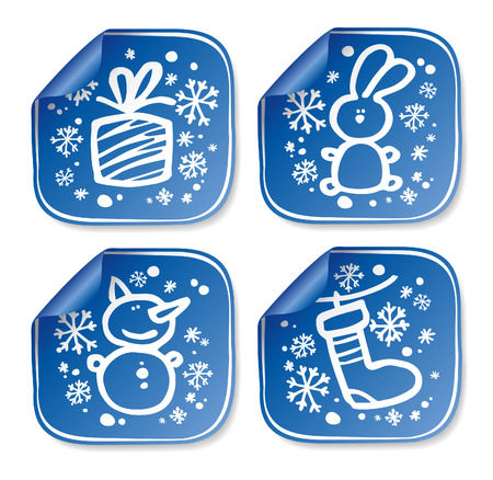 New Years stickers set. Vector