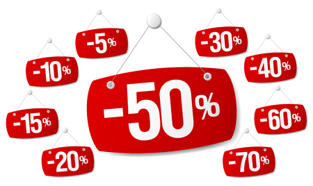 percent: Set of red signs for discount sale